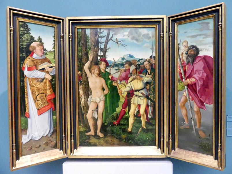 Hans Baldung Grien: Die Marter des hl. Sebastian mit hll. Stephanus, Christophorus, Apollonia und Dorothea, 1507