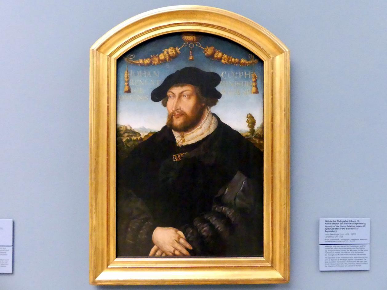 Hans Wertinger: Bildnis des Pfalzgrafen Johann III. (1488-1538), Administrator des Bistums Regensburg, Um 1526
