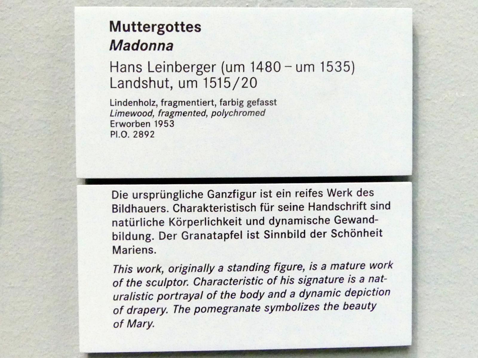 Hans Leinberger: Muttergottes, Um 1515 - 1520