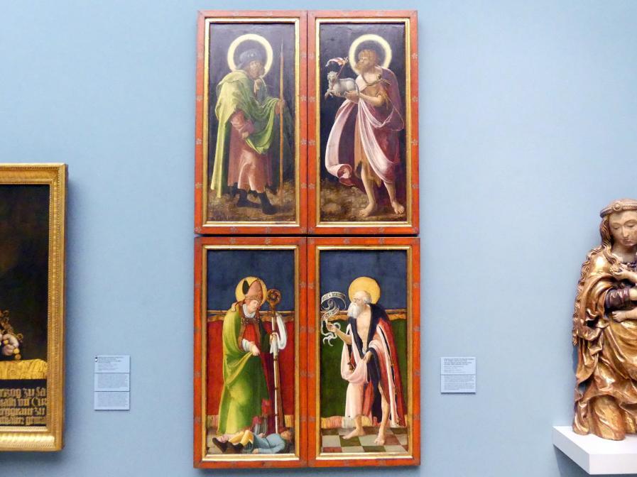 Meister der Crispinuslegende: Johannes der Täufer und Apostel Jakobus d.Ä., Hl. Valentin und Hiob, um 1515