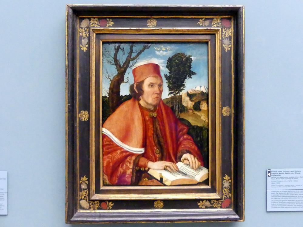 Lucas Cranach der Ältere: Bildnis eines Juristen, Johann Stephan Reuss (gest. 1514), Rektor der Wiener Universität, 1503