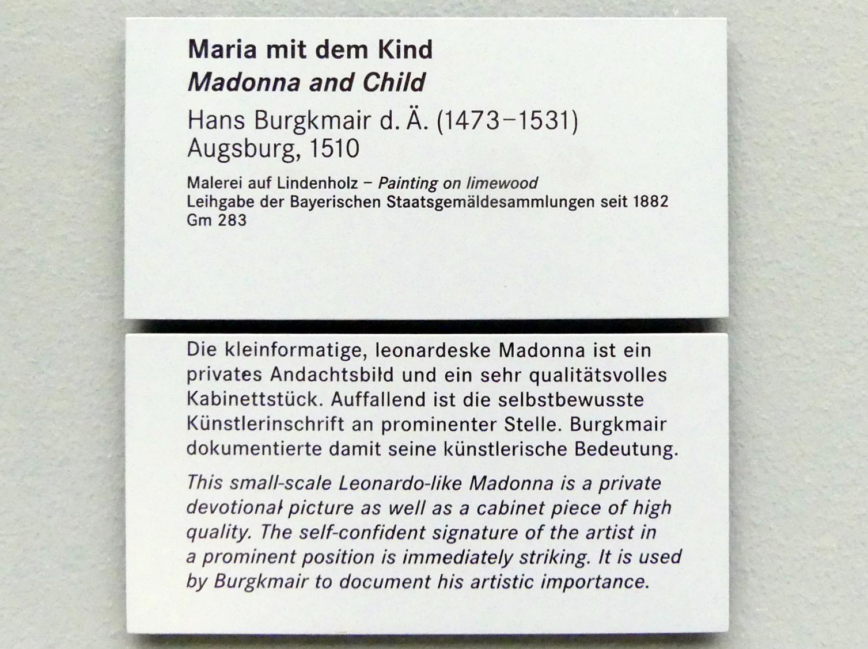 Hans Burgkmair der Ältere: Maria mit dem Kind, 1510