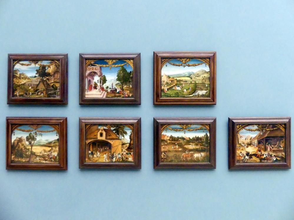 Hans Wertinger: Sieben Tafeln aus einer Folge von Monatsbildern, um 1525 - 1526