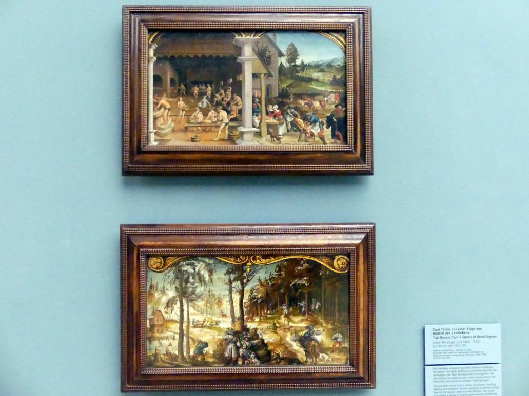Hans Wertinger: Zwei Tafeln aus einer Folge von Bildern des Landlebens: Fuchs- und Hirschjagd im Winter, Um 1516 - 1525