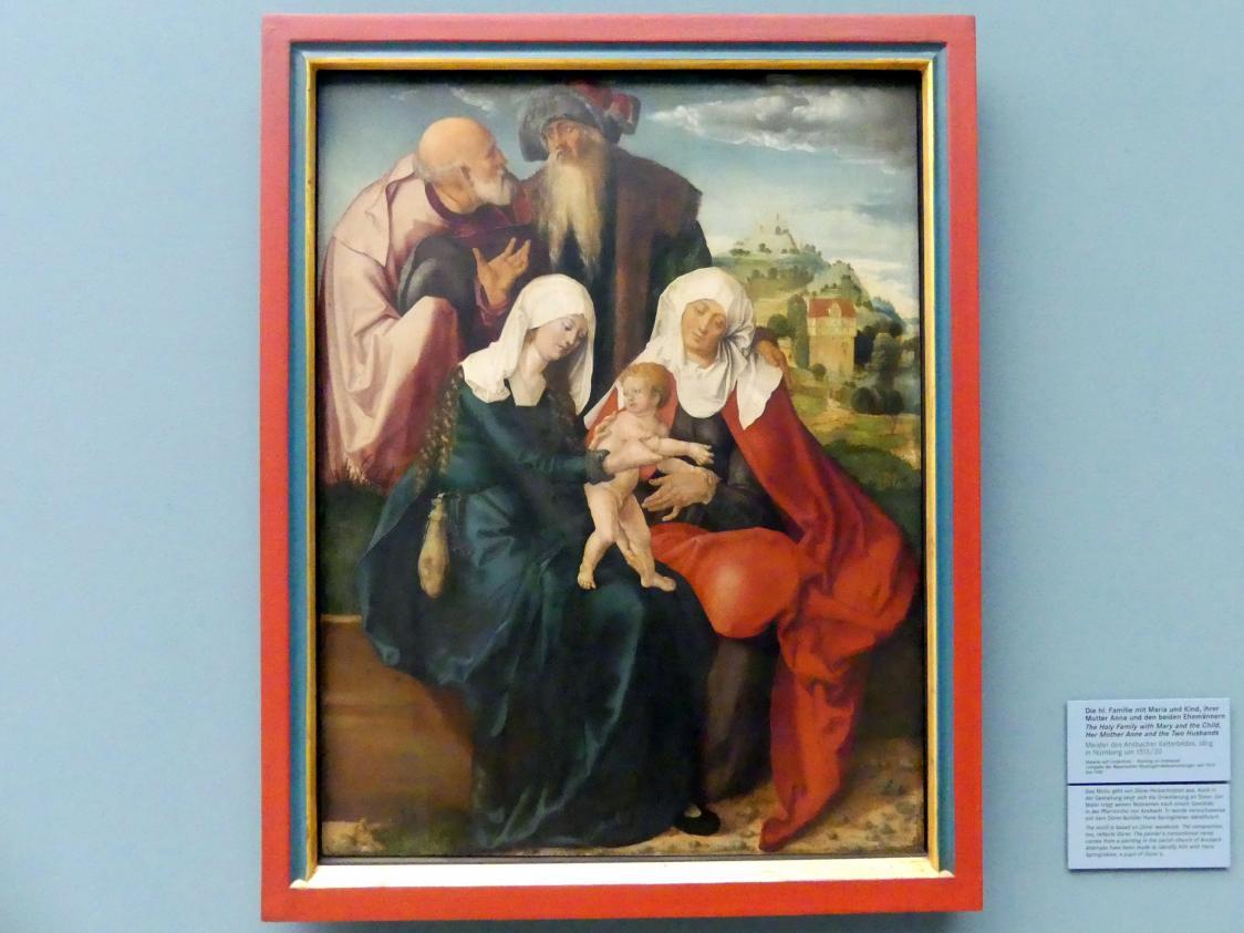 Meister des Ansbacher Kelterbildes: Die hl. Familie mit Maria und Kind, ihrer Mutter Anna und den beiden Ehemännern, um 1515 - 1520