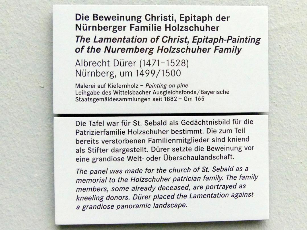 Albrecht Dürer: Die Beweinung Christi. Epitaph der Nürnberger Familie Holzschuher, Um 1499 - 1500