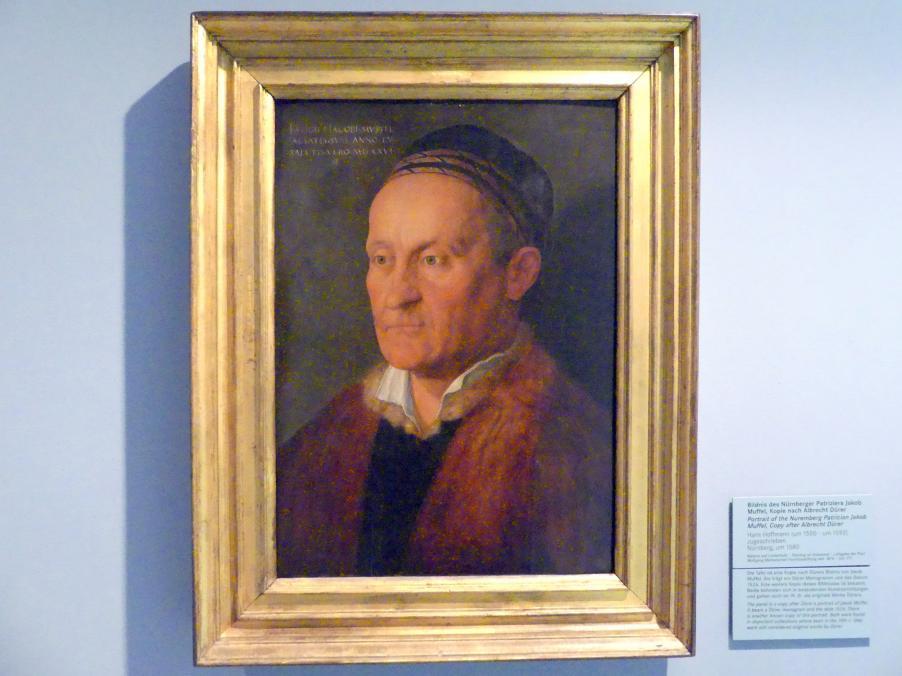 Hans Hoffmann: Bildnis des Nürnberger Patriziers Jakob Muffel (1471-1526), Kopie nach Albrecht Dürer, Um 1580