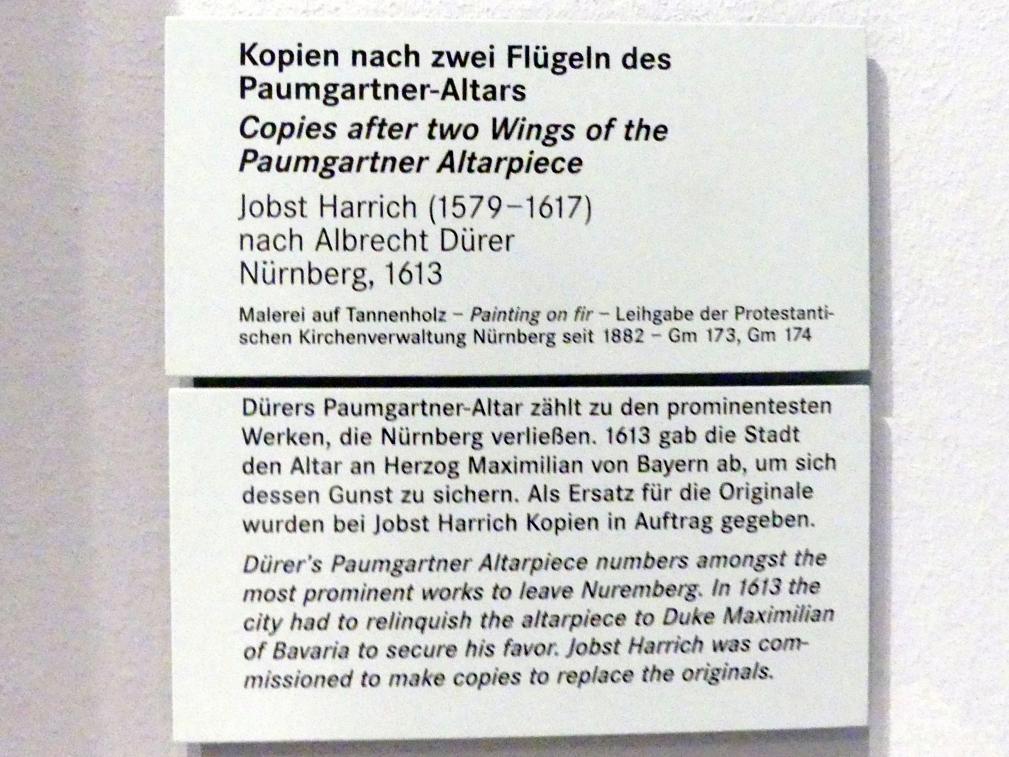 Jobst Harrich: Zwei Flügel des Paumgartner-Altars, Kopie nach Albrecht Dürer, 1613, Bild 2/2