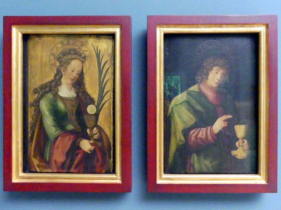 Wolf Traut: Flügel einer Altar-Predella mit hl. Barbara und Johannes Evangelist, Um 1510