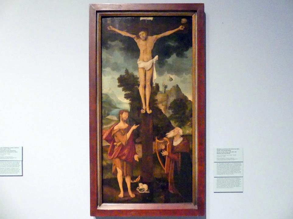Hans Schäufelein: Christus am Kreuz mit Johannes dem Täufer und König David, 1508
