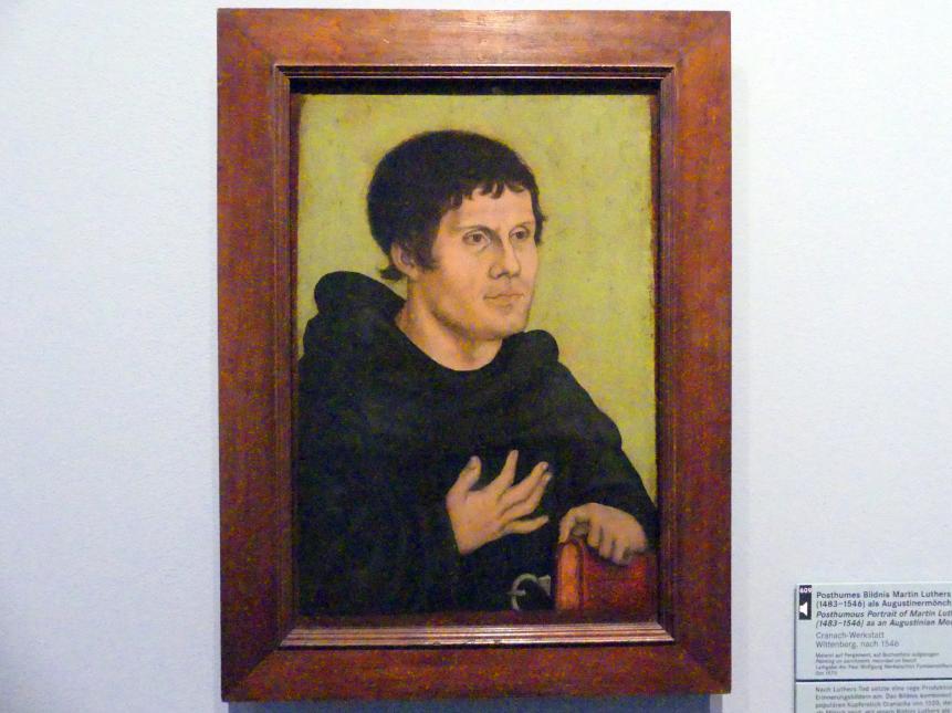 Lucas Cranach der Ältere (Werkstatt): Posthumes Bildnis Martin Luthers (1483-1546) als Augustinermönch, nach 1546