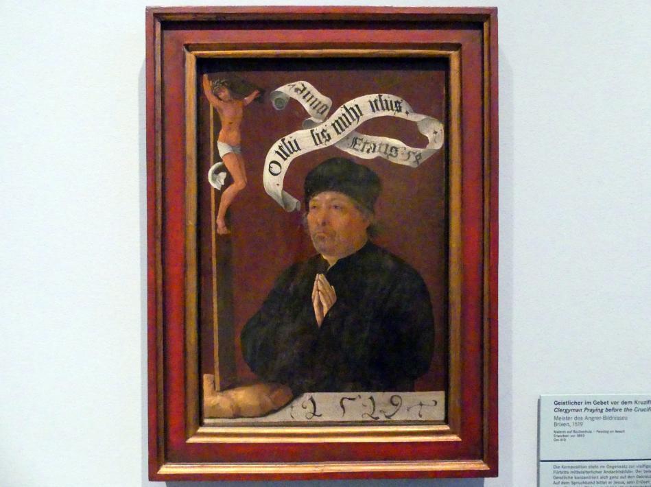 Meister des Angrer-Bildnisses: Geistlicher im Gebet vor dem Kruzifix, 1519
