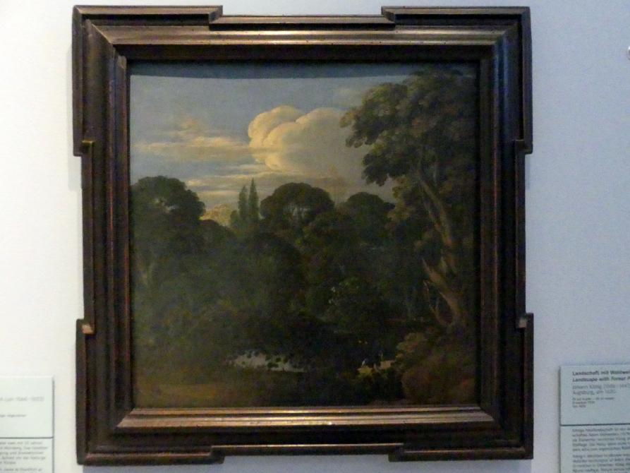 Johann König: Landschaft mit Waldweiher, Um 1620