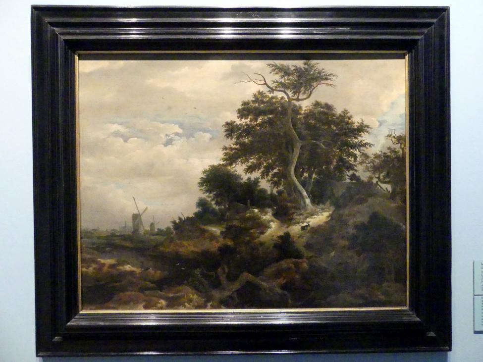 Jacob van Ruisdael (Umkreis): Landschaft mit Windmühlen, Um 1650
