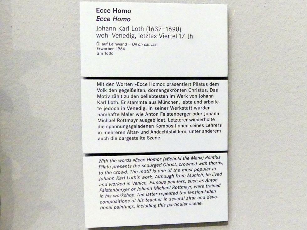 Johann Carl Loth (Carlotto): Ecce Homo, Letztes Viertel 17. Jhd., Bild 2/2