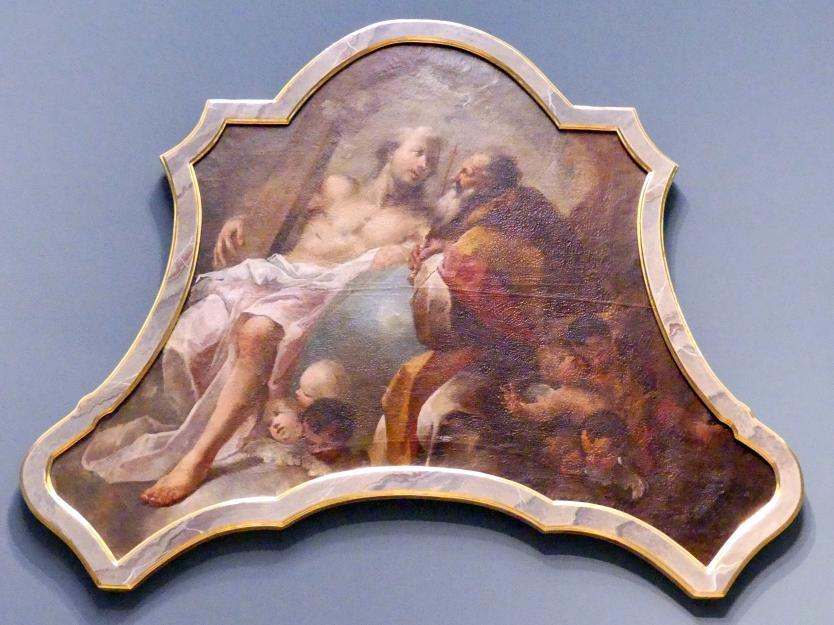 Auszugsbild eines Altars mit der Darstellung der hl. Dreifaltigkeit, Um 1740 - 1750