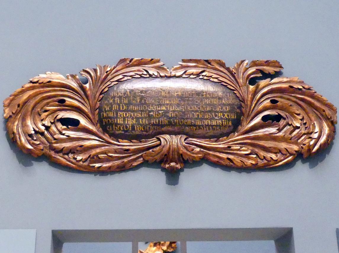 Inschriftenkartusche vom Epitapf des Kanonikers Heinrich Franz Reich (gest. 1682), 1682