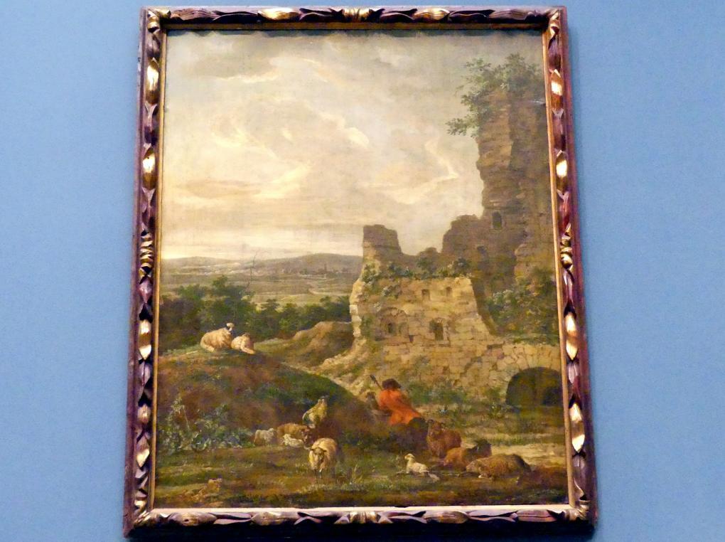 Anton Wilhelm Tischbein: Landschaft mit bäuerlicher Staffage und Ruine, Ende 18. Jhd.
