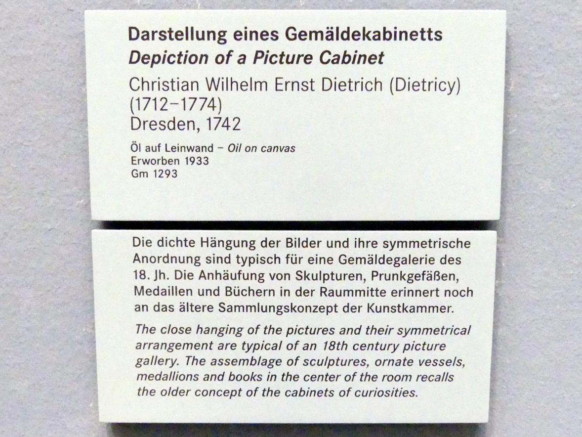 Christian Wilhelm Ernst Dietrich: Darstellung eines Gemäldekabinetts, 1742, Bild 2/2