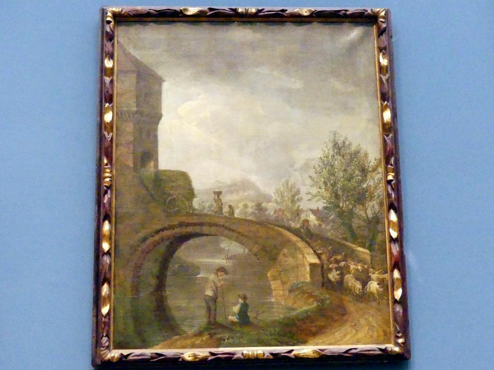 Anton Wilhelm Tischbein: Landschaft mit bäuerlicher Staffage und Brücke, Ende 18. Jhd.