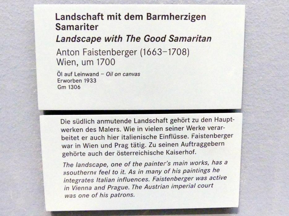 Anton Faistenberger: Landschaft mit dem Barmherzigen Samariter, um 1700, Bild 2/2