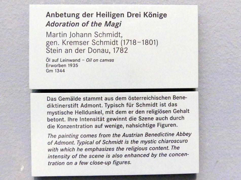 Martin Johann Schmidt (Kremser Schmidt): Anbetung der Heiligen Drei Könige, 1782