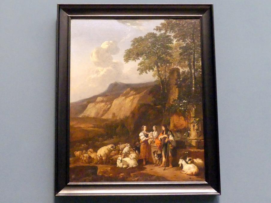 Johann Heinrich Roos: Italienische Landschaft mit Bürgerfamilie als Hirten, 1669