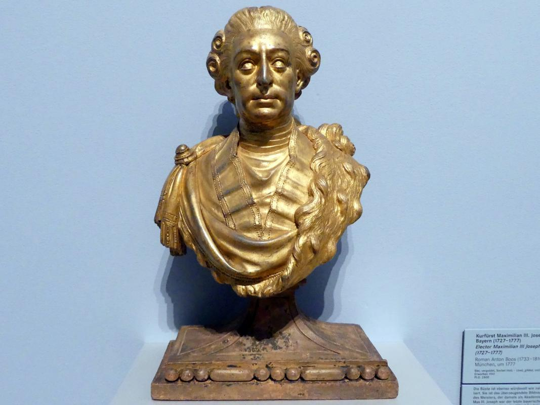 Roman Anton Boos: Kurfürst Maximilian III. Joseph von Bayern (1727-1777), Um 1777