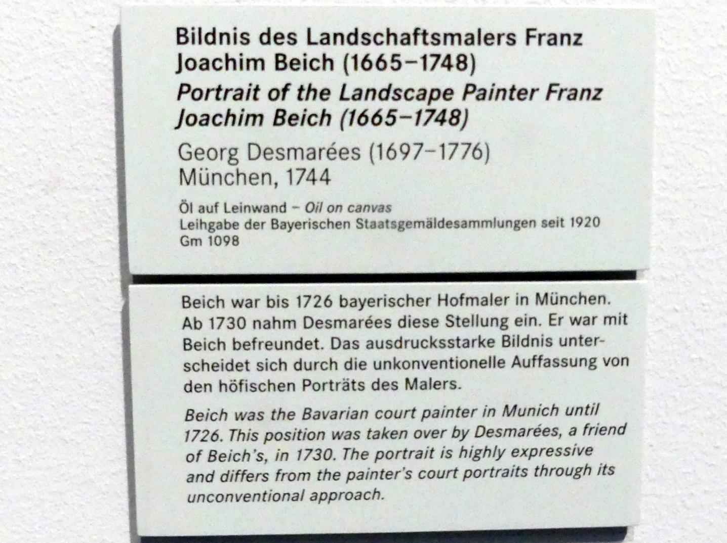 George Desmarées: Bildnis des Landschaftsmalers Franz Joachim Beich (1665-1748), 1744