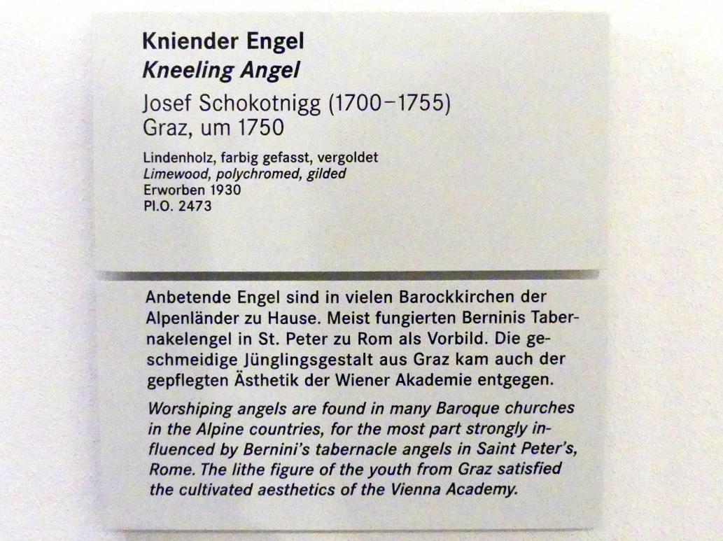 Josef Schokotnigg: Kniender Engel, um 1750, Bild 2/2
