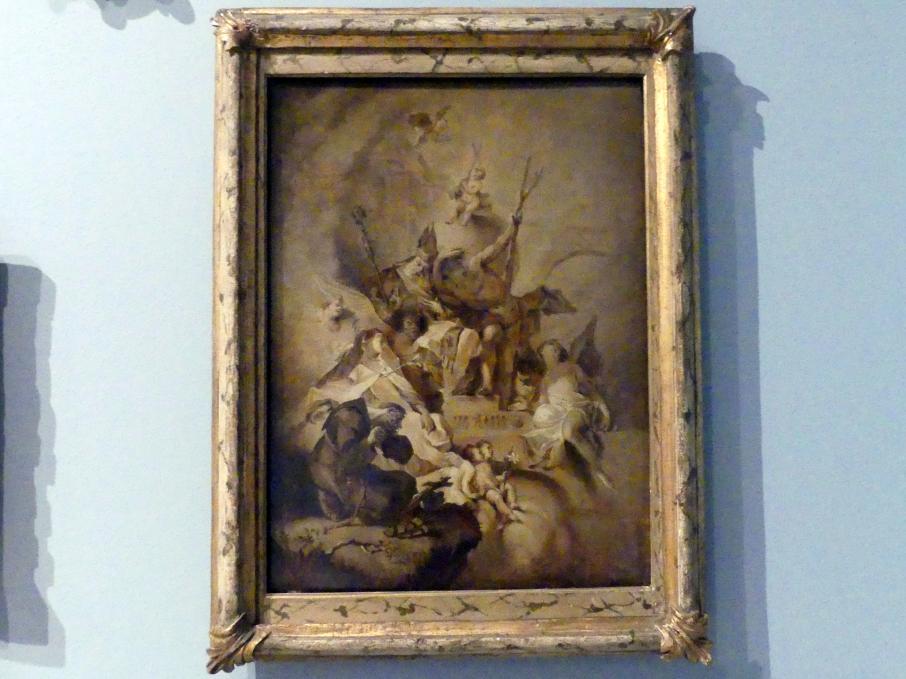 Franz Anton Maulbertsch (Werkstatt): Verherrlichung des Jesuskindes mit Heiligen, Um 1762