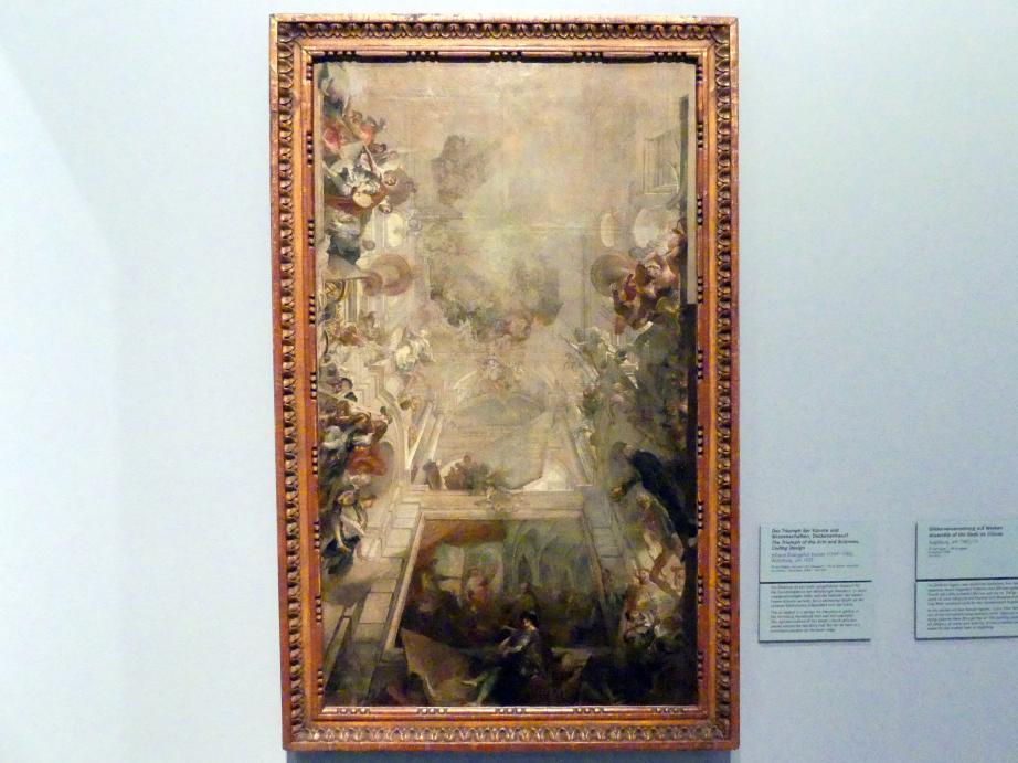 Johann Evangelist Holzer: Der Triumph der Künste und Wissenschaften, Deckenentwurf, um 1737, Bild 1/2