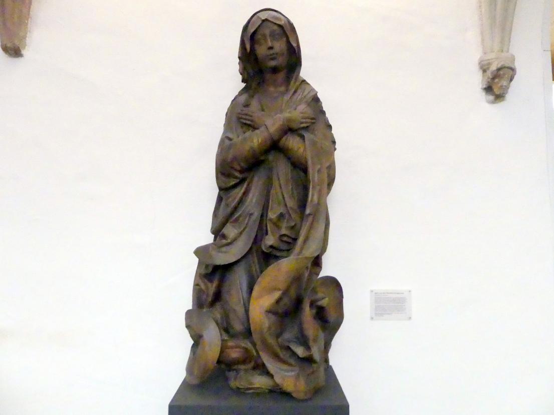 Meister der Heilsbronner Marienkrönung: Maria, auf Wolken kniend aus einer Marienkrönung, Um 1525