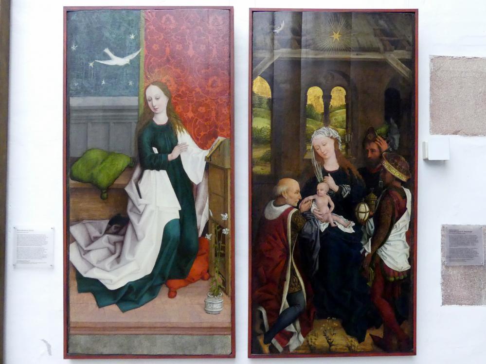 Hans Pleydenwurff: Verkündigung und Anbetung der Hl. Drei Könige, um 1457