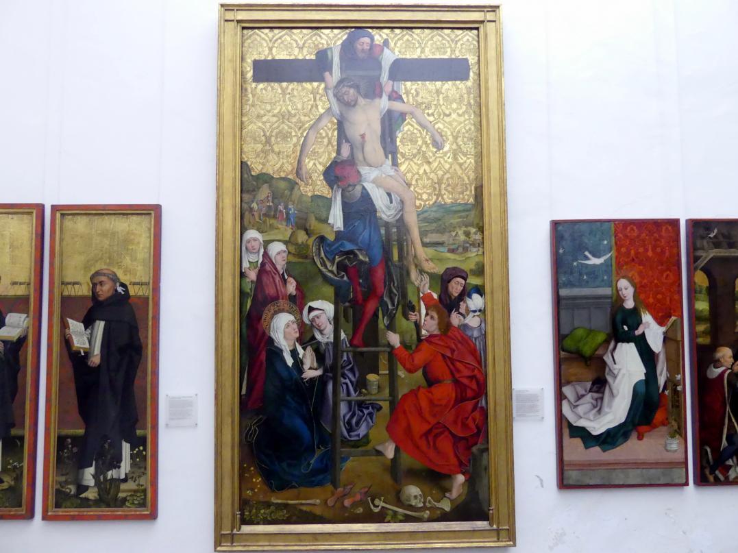 Hans Pleydenwurff: Flügel des ehemaligen Hochaltars der Elisabethkirche zu Breslau: Kreuzabnahme Christi, 1462, Bild 1/2