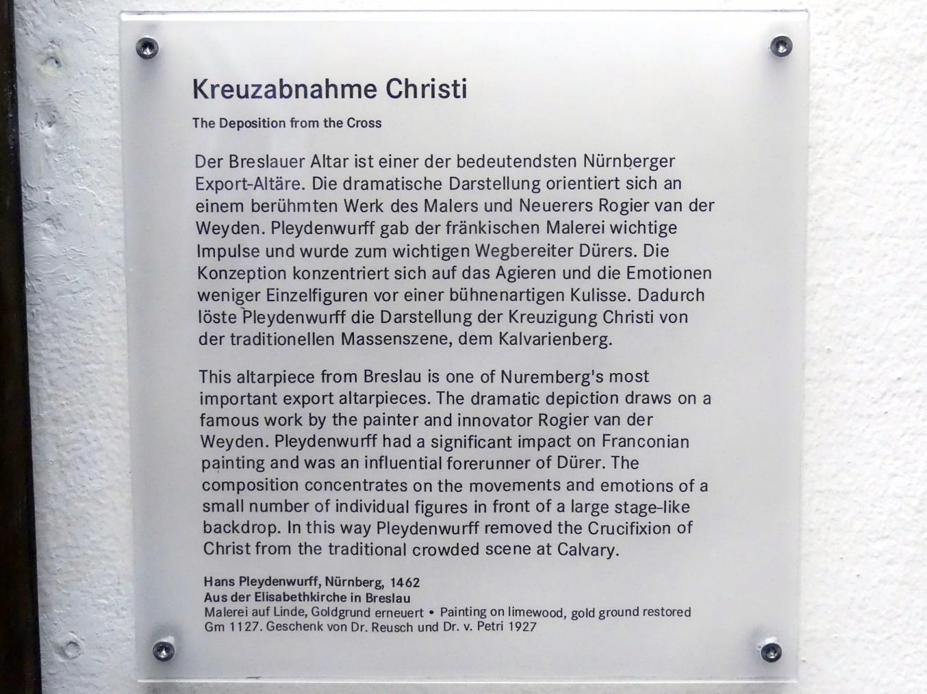 Hans Pleydenwurff: Flügel des ehemaligen Hochaltars der Elisabethkirche zu Breslau: Kreuzabnahme Christi, 1462, Bild 2/2