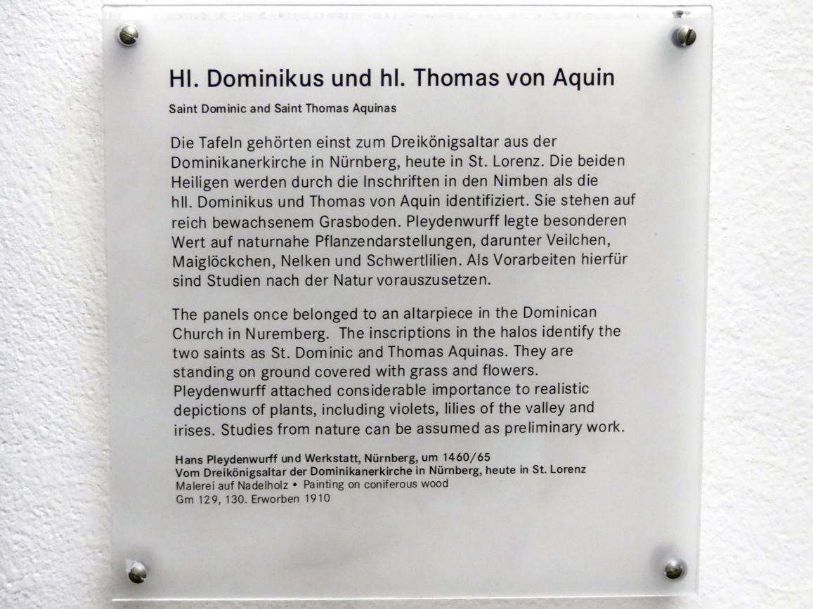 Hans Pleydenwurff: Hl. Dominikus und hl. Thomas von Aquin, um 1460 - 1465, Bild 2/2