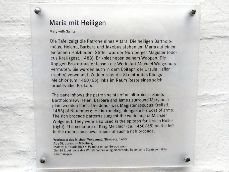 Michael Wolgemut (Werkstatt): Epitaph des Magisters Jodokus Krell: Maria mit dem Kind und Heiligen, 1483, Bild 2/2