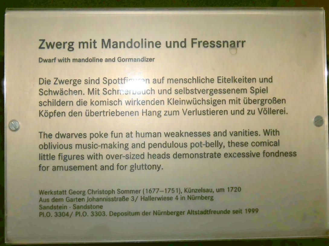 Georg Christoph Sommer (Werkstatt): Zwerg mit Mandoline, Um 1735