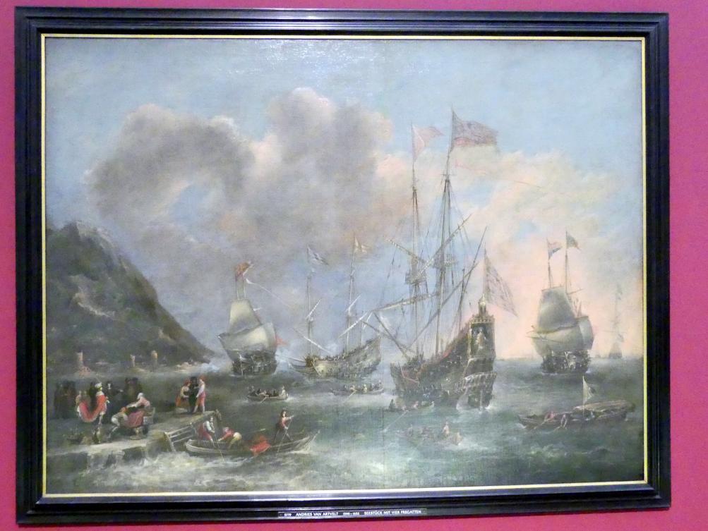 Andries van Eertvelt: Seestück mit vier Fregatten, Undatiert