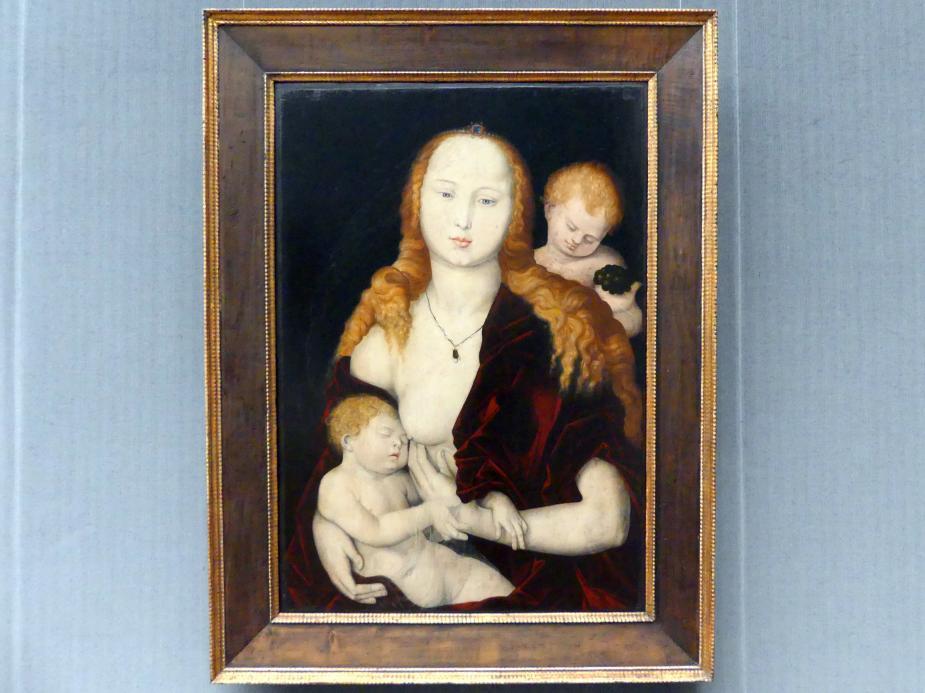 Hans Baldung Grien: Maria mit dem Kind und einem Engel (Maria mit der Weintraube), um 1539