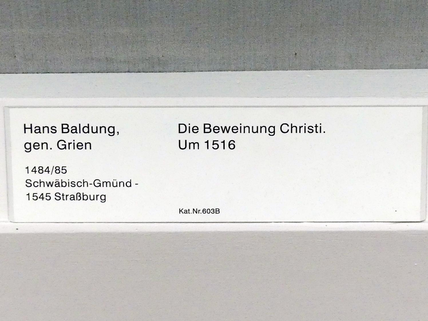 Hans Baldung Grien: Die Beweinung Christi, um 1516, Bild 2/2
