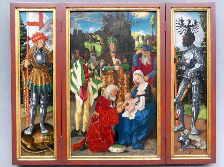 Hans Baldung Grien: Der Dreikönigsaltar: Mitteltafel, linker und rechter Flügel, Um 1506 - 1507