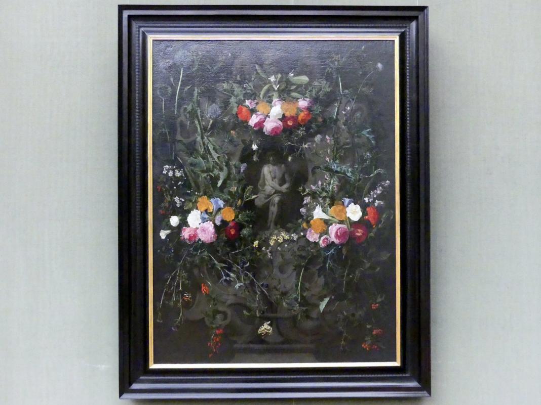 Daniel Seghers: Blumengirlande mit Christus in der Rast, Undatiert