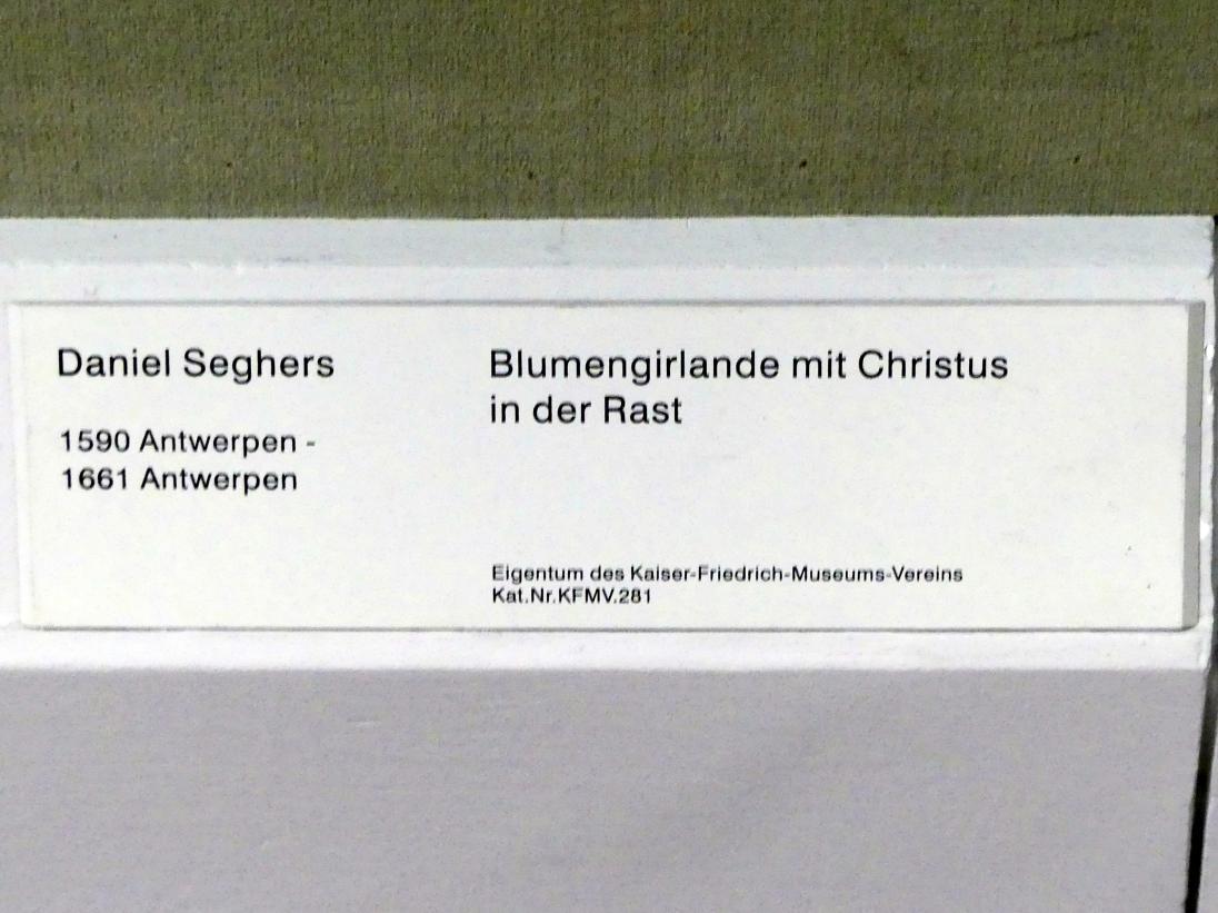 Daniel Seghers: Blumengirlande mit Christus in der Rast, Undatiert, Bild 2/2