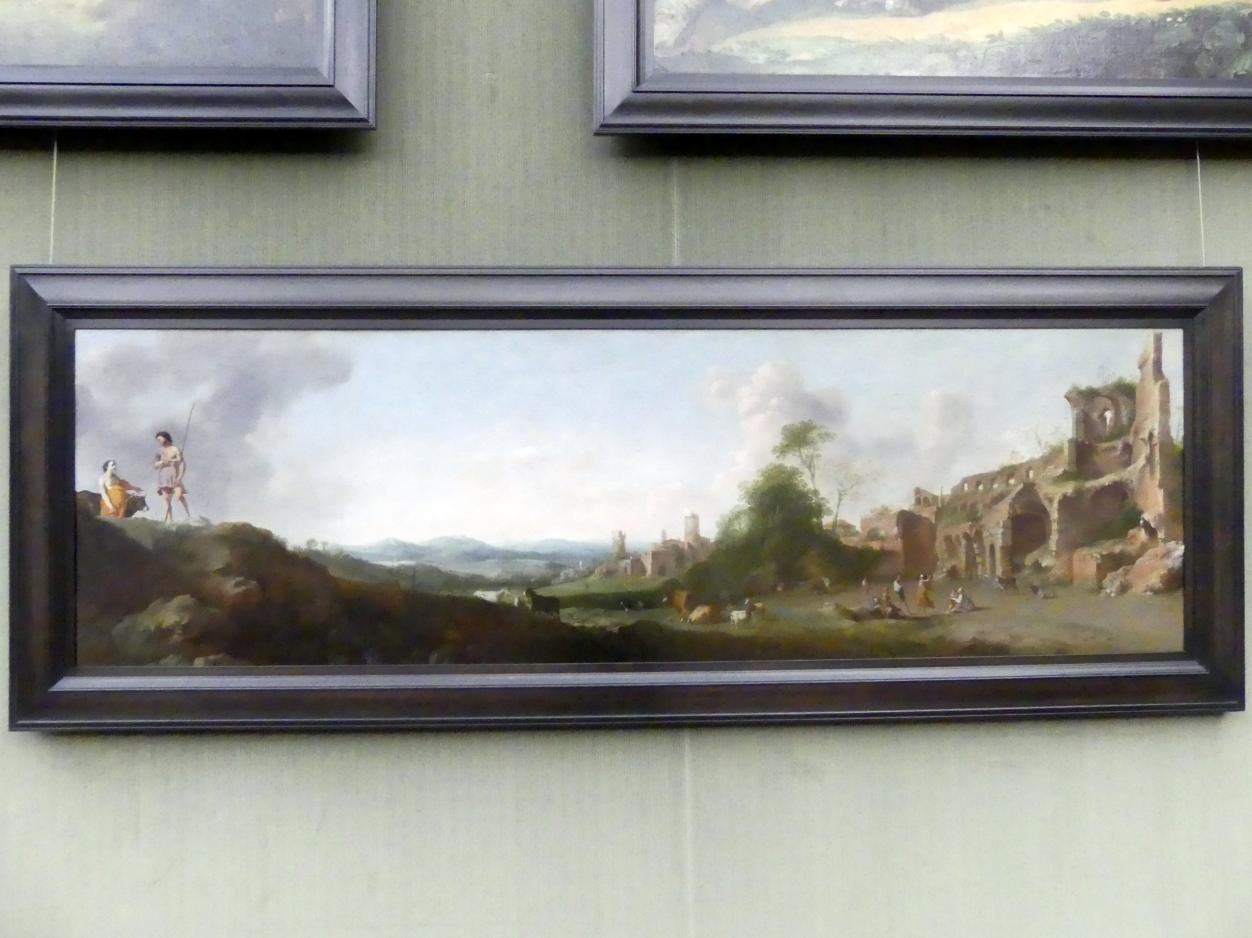 Dirck van der Lisse: Landschaft mit tanzenden Hirten, Um 1635