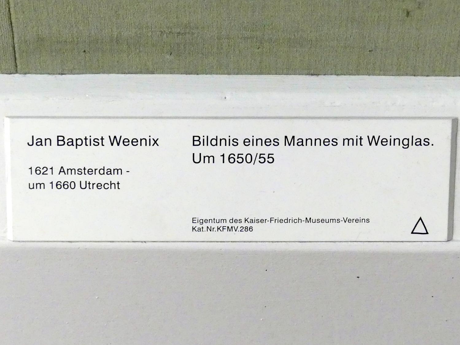 Jan Baptist Weenix: Bildnis eines Mannes mit Weinglas, um 1650 - 1655, Bild 2/2
