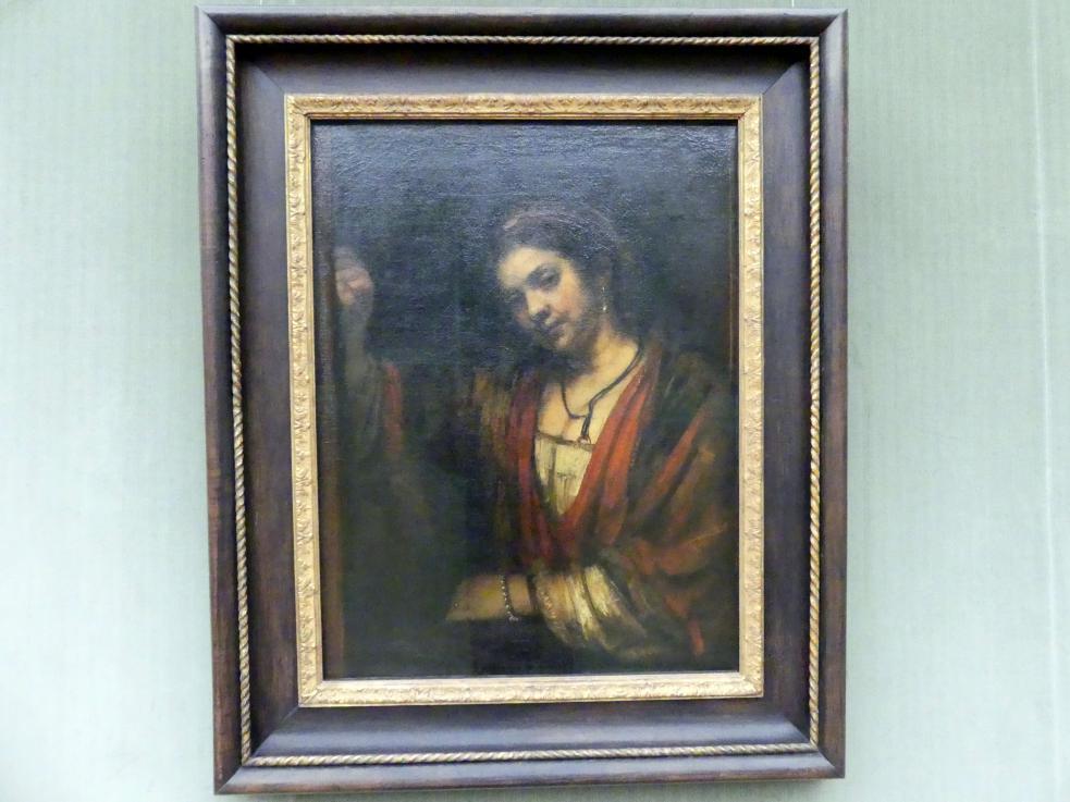 Rembrandt (Rembrandt Harmenszoon van Rijn): Junge Frau an geöffneter Tür (Hendrickje Stoffels?), um 1656 - 1657