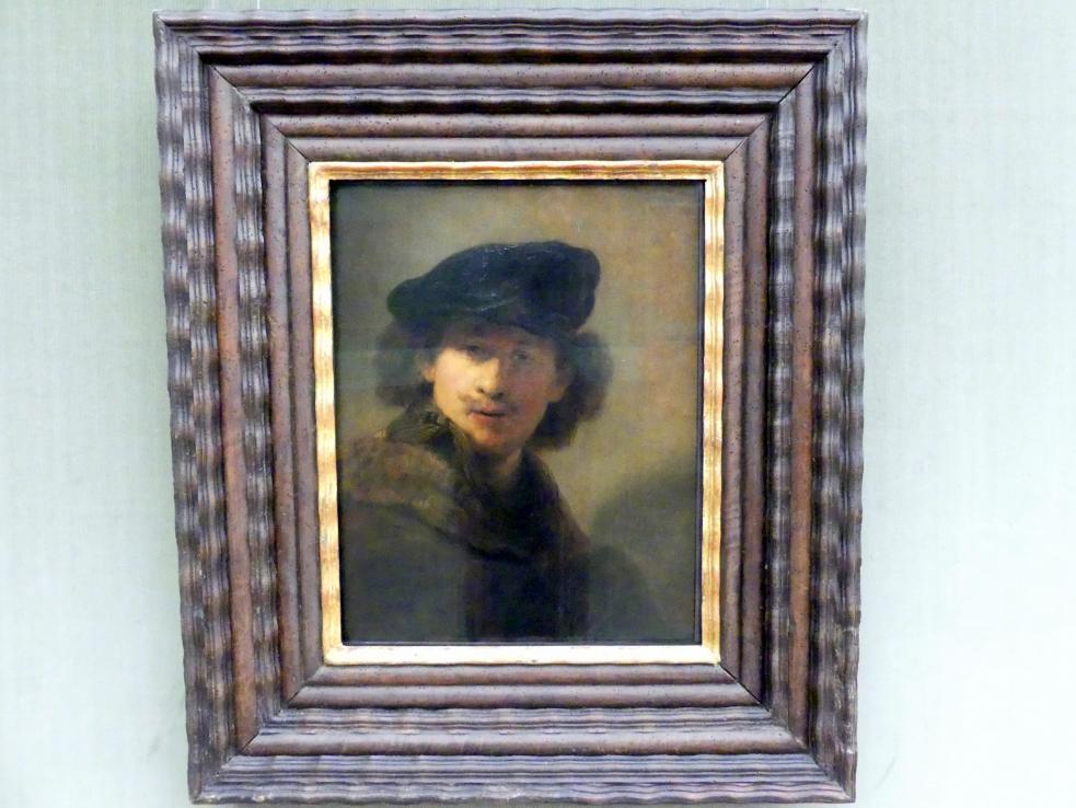 Rembrandt (Rembrandt Harmenszoon van Rijn): Selbstbildnis mit Samtbarett und einem Mantel mit Pelzkragen, 1634