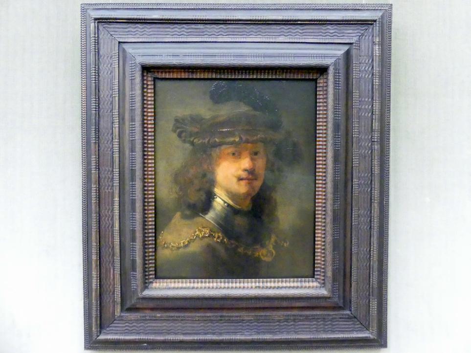 Rembrandt (Rembrandt Harmenszoon van Rijn): Rembrandt mit Samtbarett und eiserner Halsberge, 1633 - 1636